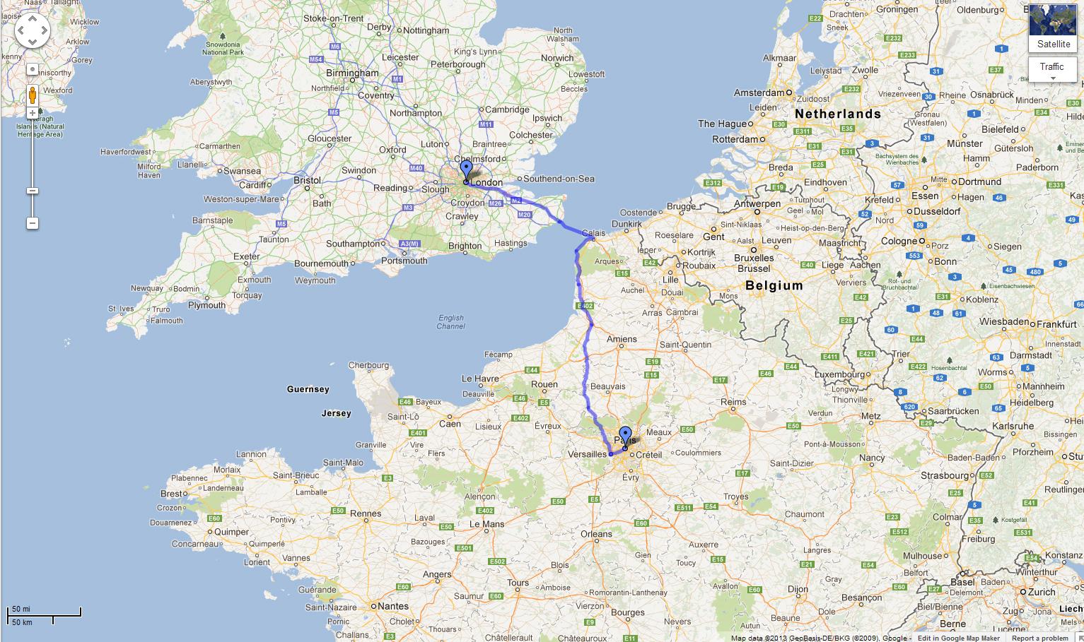 London To Paris Cycle Map Mamou Mani